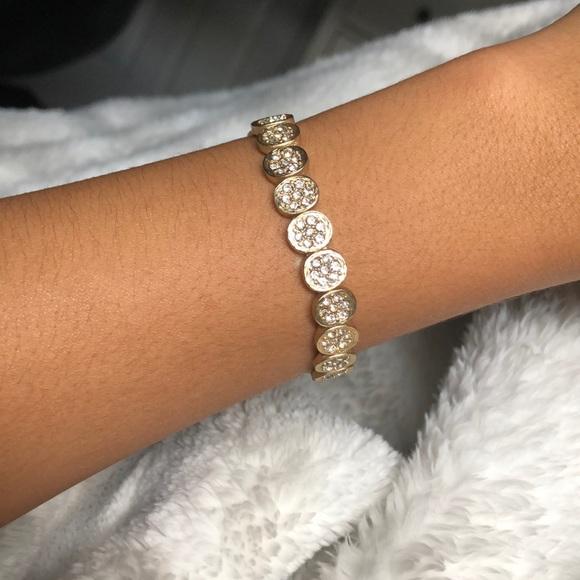 0248eb25a Jewelry | Gold Oval Design With Diamond Stud Bracelet | Poshmark